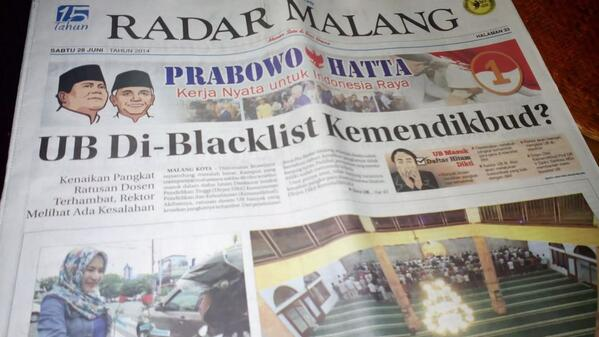 Headline koran radar malang pagi ini...