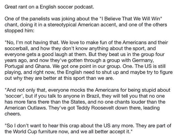 YES! RT @NOLA_Fredo: Great soccer rant #USA #IBelieve : http://t.co/HbMmPjmp18