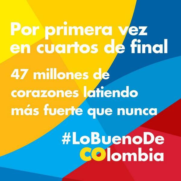 ¡GANAMOS COLOMBIA! Presenciar este momento histórico nos hace latir el corazón más fuerte #lobuenodeCOlombia http://t.co/nJzLgmrOkz