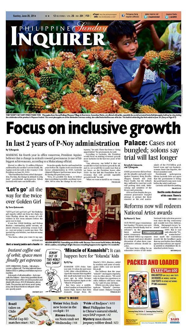 HOT OFF THE PRESS! The Philippine Daily Inquirer, June 29, 2014 http://t.co/mVYTlIvNtB