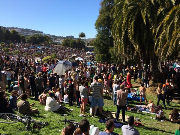 Shit got real at Dolores Park wedding ceremony - about 5,000 people in attendance for the vows :) #UberWEDDING