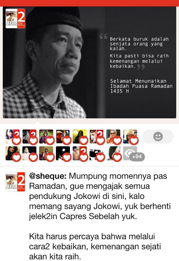 Pendukung Jokowi yuk stop jelek2in capres sebelah yuk.  http://t.co/WiT5YDfxBv  #PintarPilih2 #Salam2Jari #JKW4P http://t.co/eOFX2G0RPw