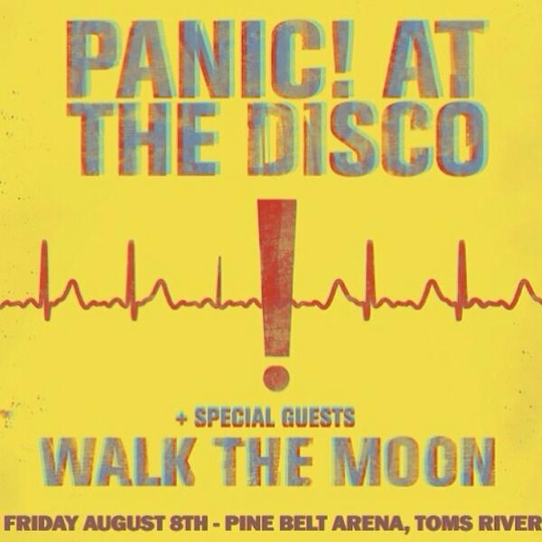 Panic At The Disco at Pine Belt Arena, Toms River - August 8th. RT and we'll pick a follower to win a pair on us! http://t.co/R3e1KKOMCf