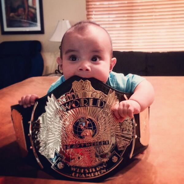 The new @WWE #champion #mitb #laddermatch @TripleH @StephMcMahon @VinceMcMahon can't ever start them too young! http://t.co/cN1dFwQXWp