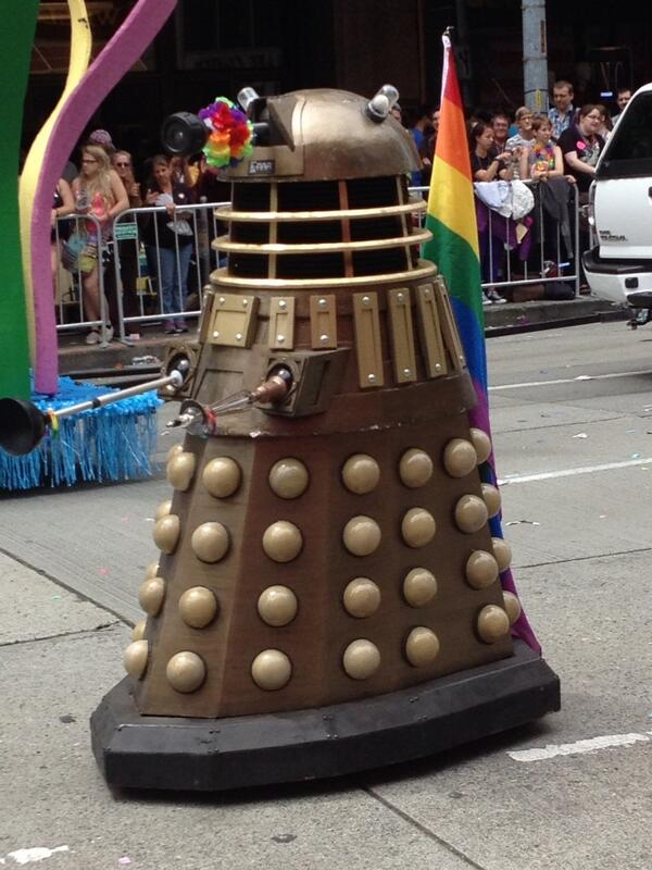 I SEE that @RepublicanDalek has gone UNDERCOVER once MORE. RT @TanayleHaga: Dalek! #doctorwho #seattlepride2014 http://t.co/M9Ah0U76kw