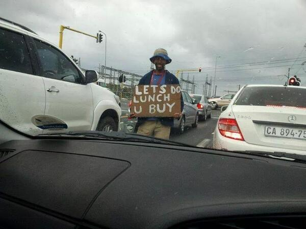 Love it when beggers get creative RT @candiceforrest: Drive by shooting. ....#onlyinsouthafrica http://t.co/WQ6YsuX6Gj