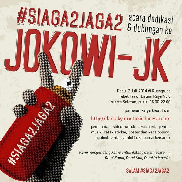 """MARI DATANG & SEBARKAN: #siaga2jaga2 2 Juli di @ruangrupa 16.00-22.00 http://t.co/5d4AvkiGNf http://t.co/ZAMg24Zr8I"""""""