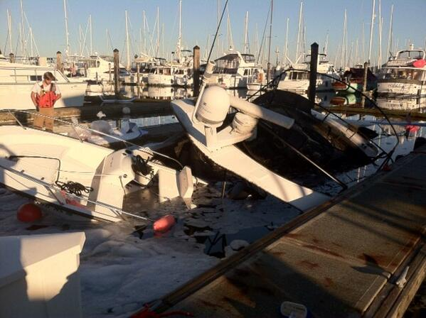 Release of fuel from sunken vessel contained at #Anacortes marina. Crews to monitor overnight. More info in am