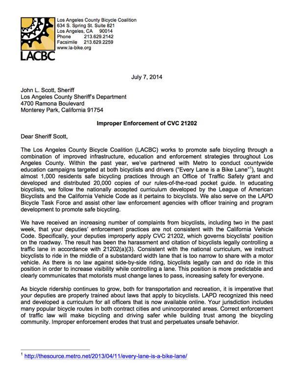 LACBC calls on @LASheriffScott to stop improper CVC21202 citations for riding legally. #bikeLA @LASDHQ @LHSLASD http://t.co/R1Z7xBBEva
