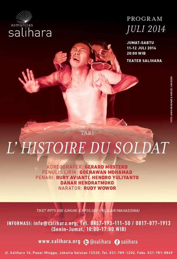 """Komunitas Salihara akan memanggungkan """"L'Histoire du soldat"""", Jumat-Sabtu, 11-12 Juli, 2014, 20:00 WIB! #Histoire http://t.co/WDDDZUnkAX"""