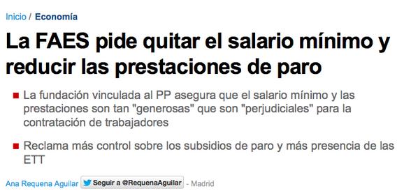 Xose Morais (@XoseMorais): FAES haciendo uso de los 540.000€ de subvención que recibe: fuera salario mínimo y fuera prestación de paro. http://t.co/skCoBjZ03p