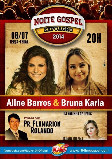 Noite gospel em Valadares com @aline_barros @brunakarlabk e @pastorflamarion 8/7 https://t.co/gA7NUuFCzd http://t.co/T64Oo6cdTF RT