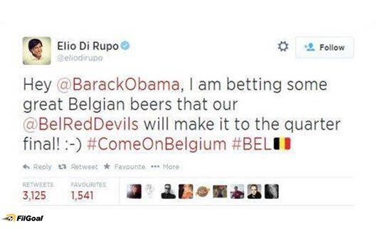 رئيس وزراء بلجيكا يراهن أوباما على فوز بلاده من خلال تويتر:http://t.co/flQ0GyXjWM #BEL #USA #في_البرازيل #كأس_العالم http://t.co/1gIZKlewxb
