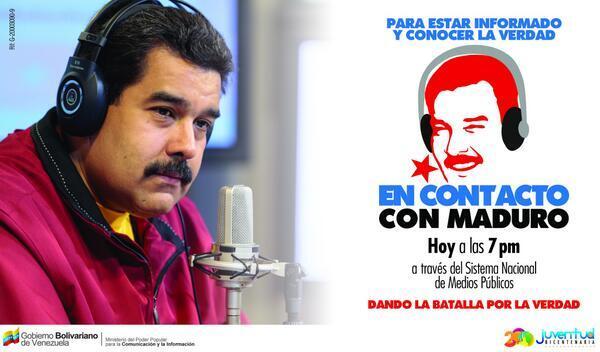 VTVCANAL8 (@VTVcanal8): HOY a las 7pm sintoniza tu programa #EnContactoConMaduro @NicolasMaduro http://t.co/yjbze7s4Tw