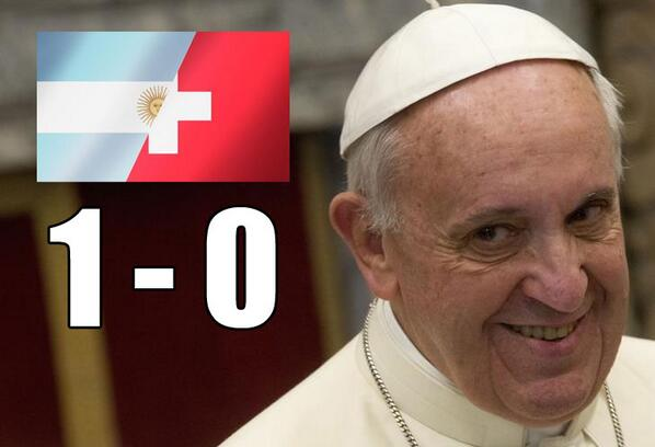 Someone in the Vatican has a great evening :) #worldcup #ARGvsSUI http://t.co/qUhzERSTyI