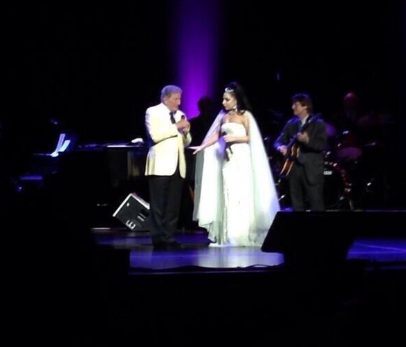 Lady Gaga is now on stage with Tony Bennett at the Jazz Festival. http://t.co/Q8reSGEUPv