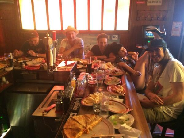 Family Dinner! @ladygaga @briannewmanny @taylorkinney11 @breedlovenyc #AtlanticCity #SpaghettiPizza #RivingtonRebels http://t.co/oqHHoDJDhX