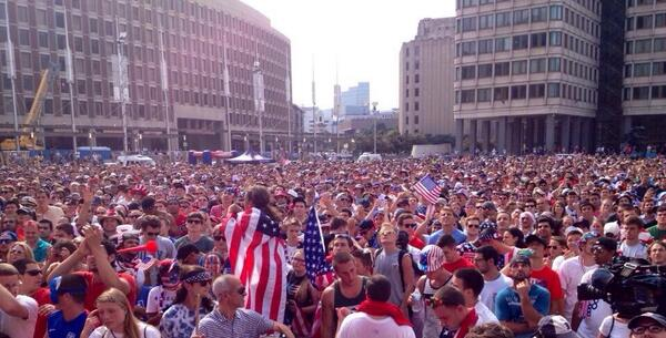 Boston City Hall Plaza right now #WorldCup http://t.co/0tcPUy4mVB