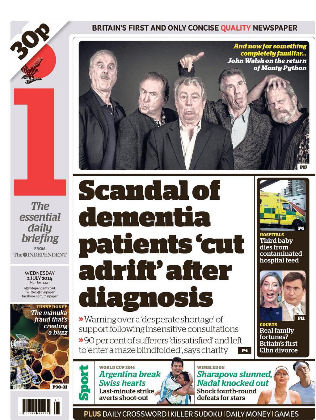 """Wednesday's i: """"Scandal of dementia patients 'cut adrift' after diagnosis"""" http://t.co/u9AgXPd22C #TomorrowsPapersToday #BBCPapers"""