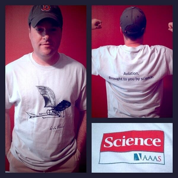 Sweet! @aaasmember and @sciencemagazine sent me this terrific #aviation #science t-shirt. The know me well. :) http://t.co/xfogSJfiza