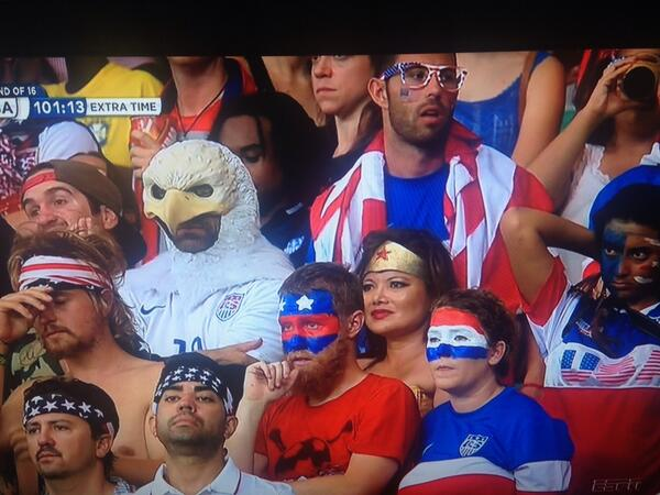On the plus side, we have Wonder Woman and some dude dressed like an eagle on our side. #TeamUSA http://t.co/6IoxQDxbSn