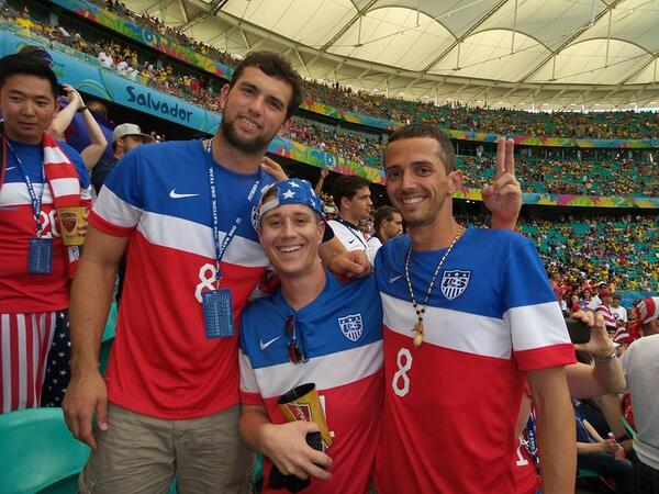 BrgZH 5CcAML xl NFL star Andrew Luck was spotted at the USA v Belgium game, one fan thinks hes Michael Phelps [Pictures]