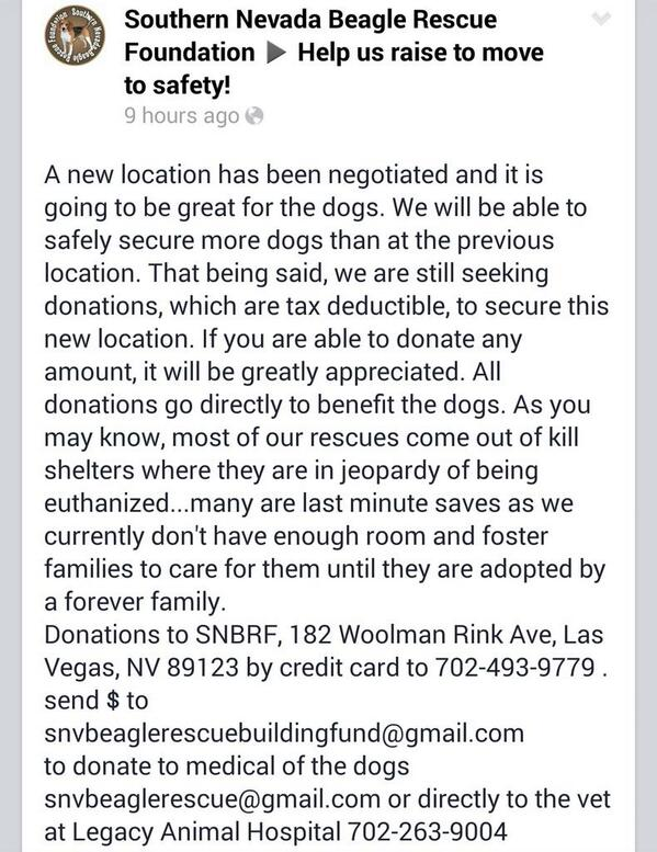 #Vegas #Beagle Rescue @snvbeaglerescue needs help, please #RT! #LasVegas #charity #donate http://t.co/z7jZJFURFQ http://t.co/2kUiRTmO5G