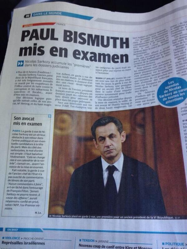 Excellent! RT @kkerima La presse Belge dans toute sa splendeur,  bravo pour ce titre #Sarkozy #GardeAVue http://t.co/24TPiSxrIJ