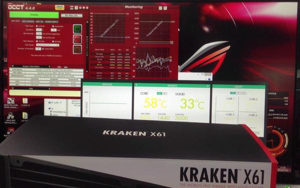 週末入荷予定のNZXT製簡易水冷クーラー「KRAKEN X61」i7-4790Kデモ機に付けてみました。巨大な312mmラジエーターにより定格時OCCT全負荷をかけても60℃以下をキープする優れモノ!予価は税別1.6万円くらいです。 http://t.co/o4oIxDrirq