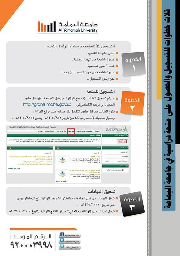 أمامك ثلاث خطوات .. فقط ، لتدرس في جامعة اليمامة وتحصل على منحة دراسية من وزارة التعليم العالي .  ابدأ الأن