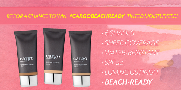 Be #CargoBeachReady for the rest of the Summer! RT to WIN our water-resistant + SPF20 Tinted Moisturizer! http://t.co/BFriytZGOx
