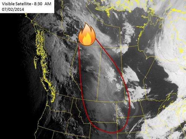 Nicole Karkic (@NicoleKarkic): Wildfires in northern Canada can be seen on #satellite across Alberta towards the US.   VIA @DiscoverMag http://t.co/GUIfGcA7Lo
