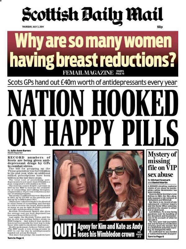 Pig-ignorant @MailOnline demeaning and diminishing depression. @TimetoChange - your good work is needed in Scotland. http://t.co/XybDAJSEX9