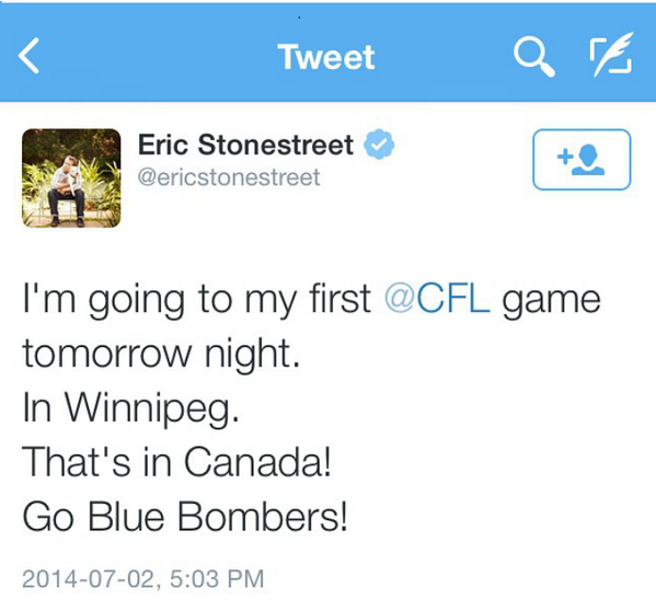 Look whos goin to the @Wpg_BlueBombers game tonight! Its CAM from MODERN FAMILY @ericstonestreet! #Koolness #gobluego http://t.co/lJrKtkumwz