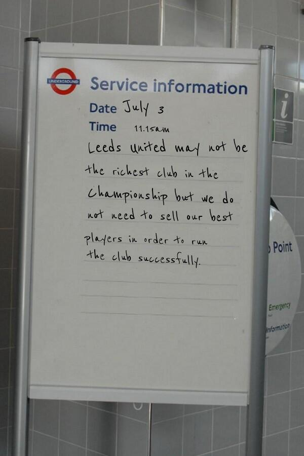 Spotted at Fulham Broadway tube station #lufc http://t.co/jn8YARFkPI