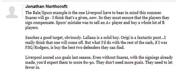 The Sunday Times' Jonathan Northcroft doing webchat now. Some good points re #Suarez #LFC & avoiding Spurs' mistakes http://t.co/N7ZHCSjeKI