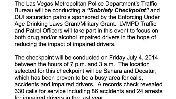 DUI checkpoint in #LasVegas July 4th at Sahara and Decatur 7p-3a. Please retweet and DON'T DRINK AND DRIVE #4thofJuly http://t.co/hwqm7xiXL4
