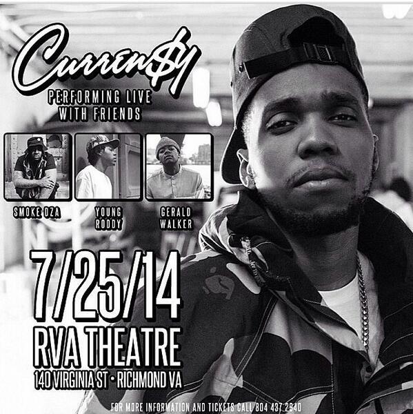 @CurrenSy_Spitta x @smokedza x @young_roddy x @Gerald_Walker @ The RVA Theater. 7/25. Richmond, VA http://t.co/t2NsOCwQmQ