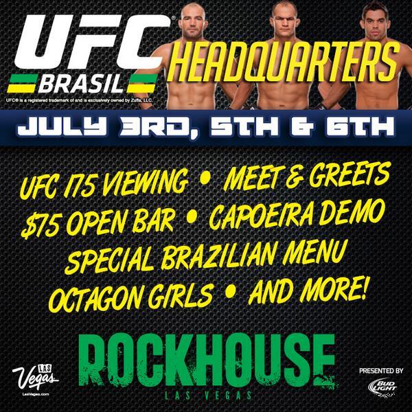 Come to #RockhouseVegas to meet @Gloverteixeira @Junior_Cigano and @RenanBaraoUFC before #UFC175! #UFCFightWeek @UFC http://t.co/KdtgmEANEx