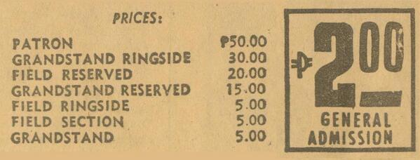 Ticket prices for #TheBeatlesMNL & The Beatles on-stage at PH National Stadium, July 4, 1966. #ConcertFlashback http://t.co/GrixD29GOZ
