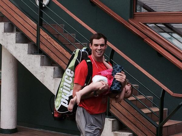 @Bryanbros on dad duty after reaching #wimbledon final. http://t.co/WJSW46R77D