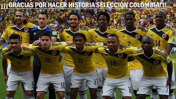 Gracias Selección Colombia por hacer historia en el Mundial de Brasil. #RCNYoCreo http://t.co/AW1lLgi05g http://t.co/oWyKiQEibR