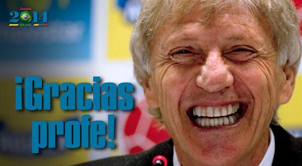 Gracias Pékerman por llevarnos tan lejos, gracias profe http://t.co/9XsH9lorra #Brasil2014 #BRAvsCOL #GraciasColombia http://t.co/XYYJbxdSKU