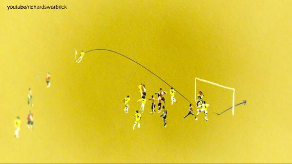 Illustration: Thiago Silva scores for Brazil after seven minutes. #BRAvsCOL http://t.co/Vmo9UUcGNV
