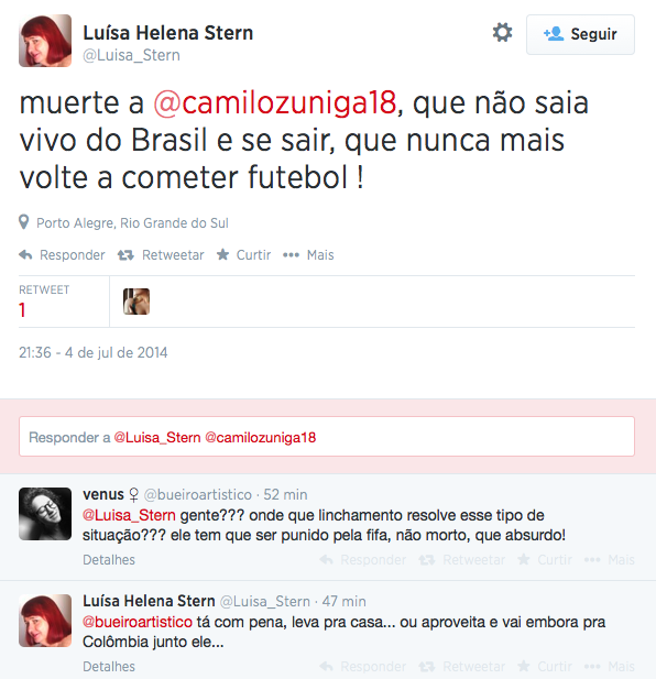 BrvmqUEIUAA5Xe0 After injuring Neymar, Colombias Juan Zuniga receives racist abuse and death threats from Brazilians on Twitter
