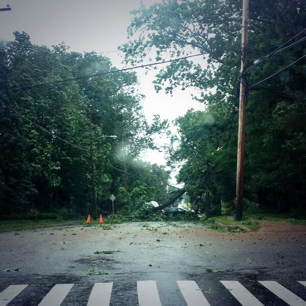 Road fully blocked in Wolfville along route 1. Taking another detour. #HurricaneArthur http://t.co/uC3EI1CI6r