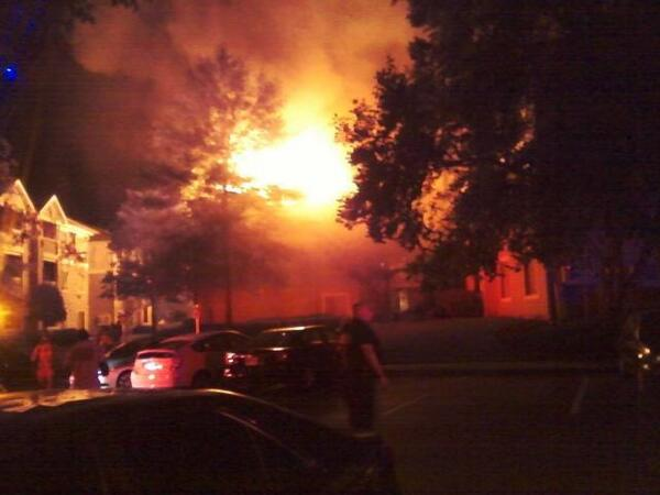 45 ppl displaced after fire rips through the Edge apartments in Univ. Section of # clt #wcnc