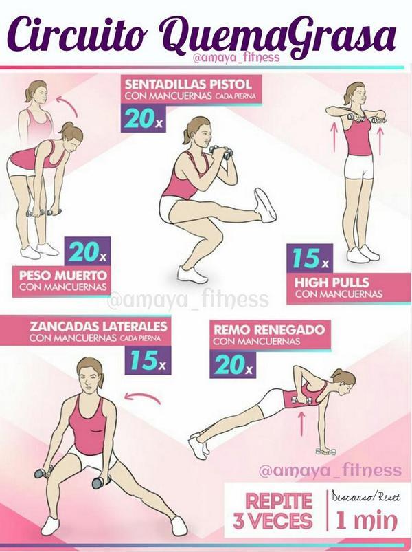 Circuito Quema Grasa Mujeres : Rutina abs da forma a tu sixpack ↪ set descanso