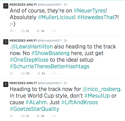 We applaud @MercedesAMGF1's and their #WorldCup puns http://t.co/N2HUUXWGmN