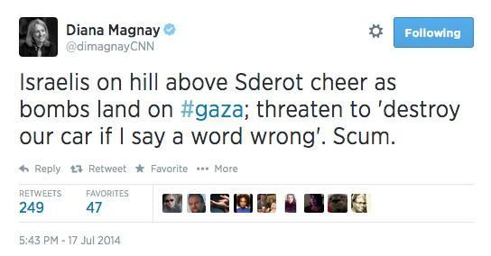 CNN reporter Diana Magnay forced to delete tweet after speaking truth about Israel http://t.co/vxAnHzE5MC